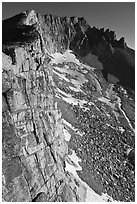 Cliffs, Mount Conness, morning. Yosemite National Park, California, USA. (black and white)