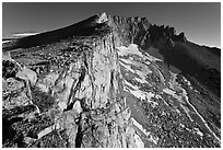 Steep rock walls, Mount Conness. Yosemite National Park, California, USA. (black and white)