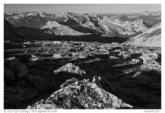 Domes and mountains from rocky plateau, Mount Conness. Yosemite National Park (black and white)