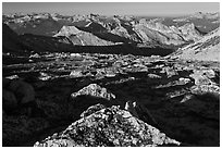 Domes and mountains from rocky plateau, Mount Conness. Yosemite National Park ( black and white)