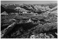 Alpine environment with distant mountains, Mount Conness. Yosemite National Park, California, USA. (black and white)