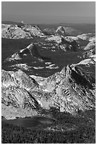 Ragged Peak, Fairview Dome, Half-Dome. Yosemite National Park ( black and white)