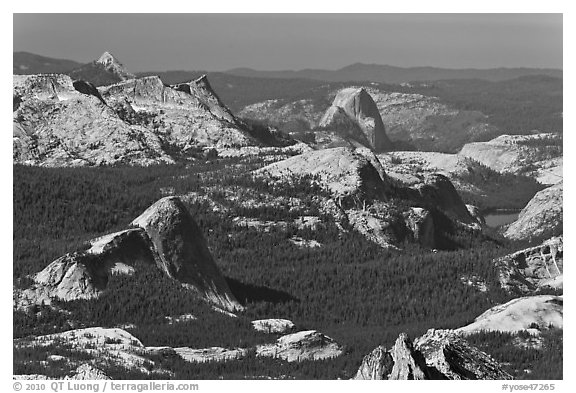 Fairview Dome and Half-Dome from Mount Conness. Yosemite National Park (black and white)