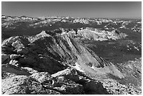 View from the top of Mount Conness. Yosemite National Park, California, USA. (black and white)