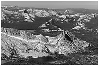 Young Lakes, Tuolumne Meadow, and Half-Dome in the distance. Yosemite National Park, California, USA. (black and white)