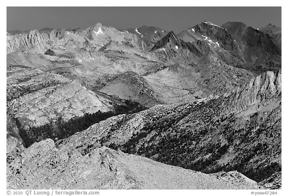 Distant view of Virginia Canyon. Yosemite National Park (black and white)