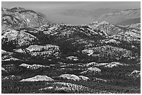 Distant view of the Grand Canyon of the Tuolumne. Yosemite National Park, California, USA. (black and white)