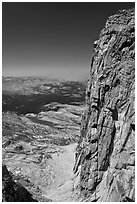 Steep rock face of Mount Conness. Yosemite National Park ( black and white)