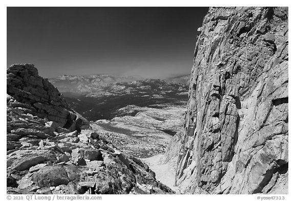 Notch below Mount Conness summit. Yosemite National Park (black and white)