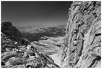 Notch below Mount Conness summit. Yosemite National Park ( black and white)