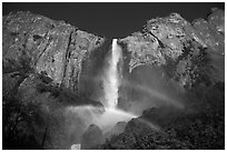Bridalveil Fall with double rainbow. Yosemite National Park ( black and white)