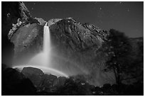 Double moonbow, Yosemite Falls. Yosemite National Park, California, USA. (black and white)