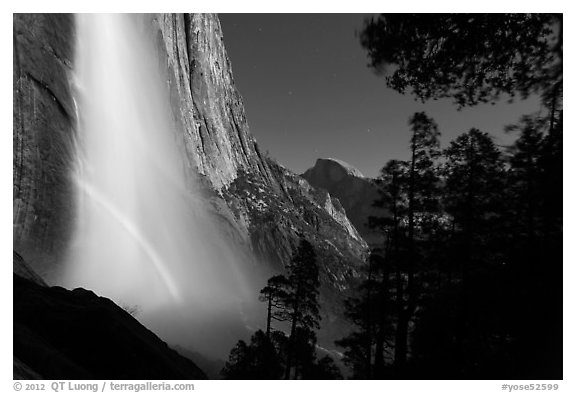 Double spray lunar rainbow, Upper Yosemite Falls and Half-Dome. Yosemite National Park (black and white)
