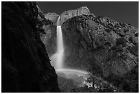 White rainbow at the base of Yosemite Falls. Yosemite National Park, California, USA. (black and white)