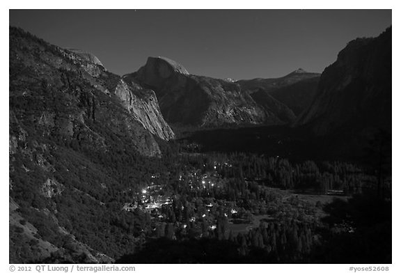 Yosemite Village lights and Half-Dome by moonlight. Yosemite National Park (black and white)
