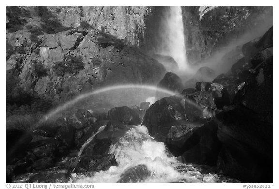 Afternoon rainbow, Bridalveil Fall. Yosemite National Park (black and white)