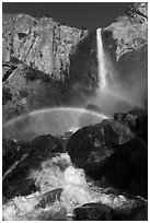 Spray rainbows, Bridalveil Fall. Yosemite National Park, California, USA. (black and white)
