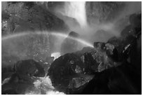 Rainbows in the mist of Bridalveil Fall. Yosemite National Park ( black and white)