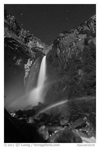 Space rainbow, Lower Yosemite Fall. Yosemite National Park (black and white)