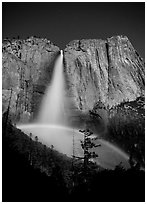 Lunar rainbow, Upper Yosemite Fall. Yosemite National Park ( black and white)