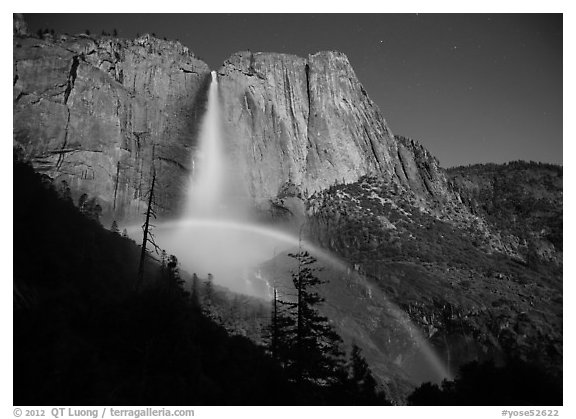 Lunar bow at night, Upper Yosemite Fall. Yosemite National Park (black and white)