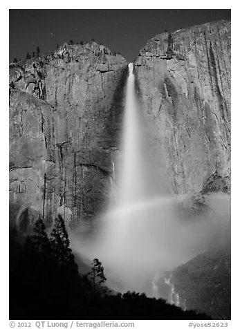 Space rainbow in Upper Yosemite Fall spray. Yosemite National Park (black and white)