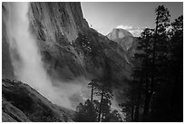 Upper Yosemite Falls and Half-Dome at sunset. Yosemite National Park ( black and white)