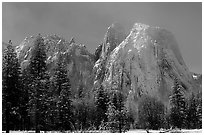 Cathedral rocks after a snow storm, morning. Yosemite National Park, California, USA. (black and white)