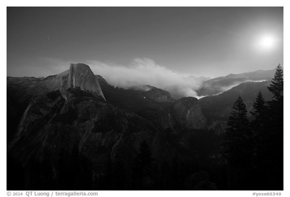 Half-Dome, fire, and moon. Yosemite National Park (black and white)