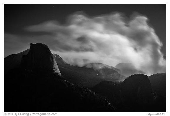 Half-Dome, fire and smoke at night. Yosemite National Park (black and white)