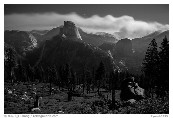Half-Dome and plume of smoke from wildfire at night. Yosemite National Park (black and white)