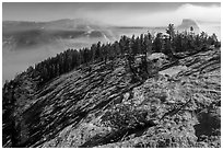 Smoke-filled valley and Half-Dome from Sentinel Dome. Yosemite National Park ( black and white)