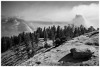 Foggy valley and Half-Dome from Sentinel Dome. Yosemite National Park ( black and white)