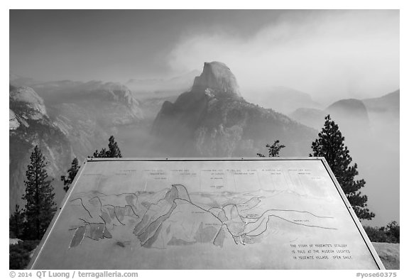 Half Dome intepretive sign. Yosemite National Park (black and white)