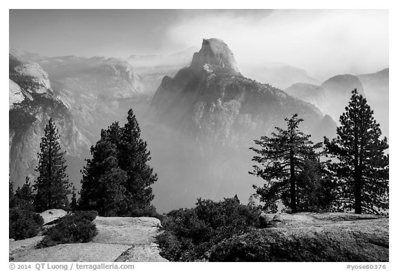 Half Dome from Glacier Point, fog clearing. Yosemite National Park (black and white)