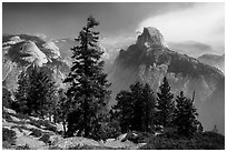 Half Dome from Glacier Point, smoke clearing. Yosemite National Park ( black and white)