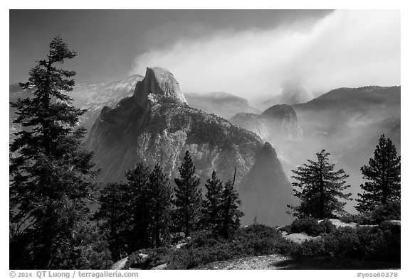 Half Dome from Glacier Point with wildfire. Yosemite National Park (black and white)