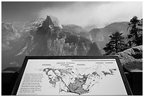 Glacier Point lower terrace intepretive sign. Yosemite National Park ( black and white)
