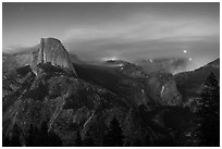 Half-Dome, forest fire, and moon rising. Yosemite National Park ( black and white)