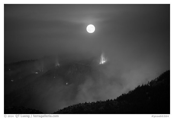 Forest fire and moon. Yosemite National Park (black and white)