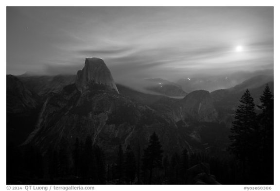 Half-Dome, wildfire, and moon. Yosemite National Park (black and white)