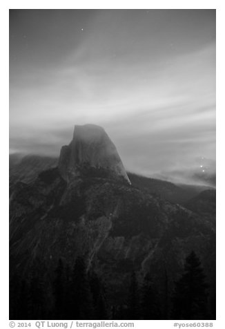 Half-Dome, forest fire, and smoke. Yosemite National Park (black and white)