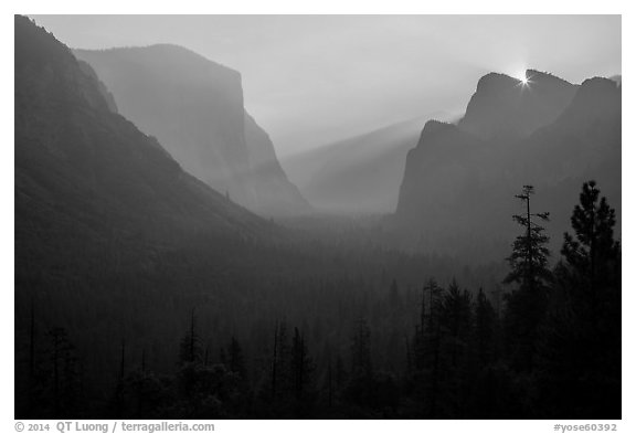 Discovery view with sun rising in notch. Yosemite National Park (black and white)