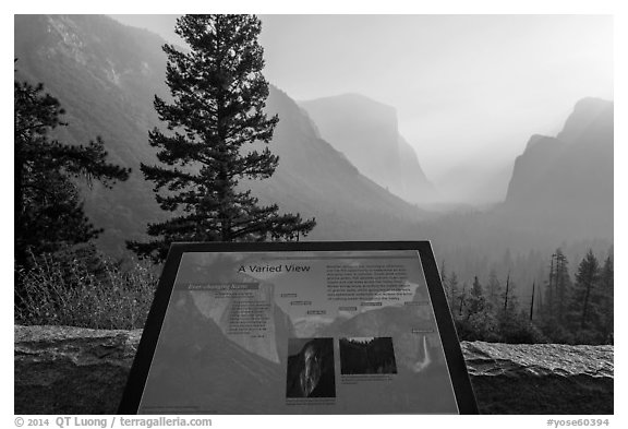 Discovery View interpretive sign. Yosemite National Park (black and white)