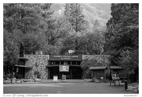 Valley visitor center. Yosemite National Park (black and white)