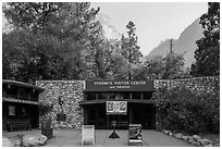 Main visitor center and cliffs. Yosemite National Park ( black and white)