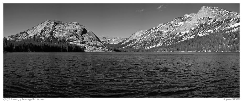 Tenaya Lake, Medlicott Dome, and Tenaya Peak. Yosemite National Park (black and white)