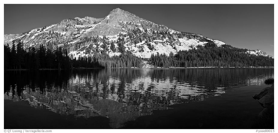 Tenaya Lake and snow covered peaks. Yosemite National Park (black and white)