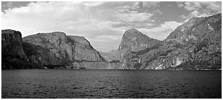 Hetch Hetchy. Yosemite National Park (Panoramic black and white)