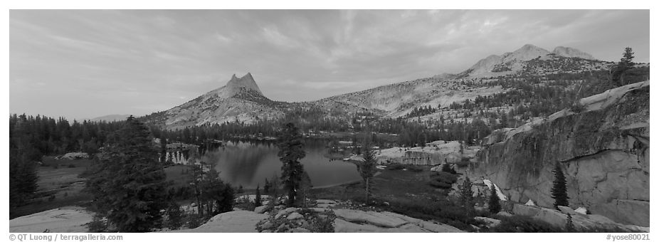 Upper Cathedral Lake, sunset. Yosemite National Park (black and white)